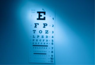 An eye chart on a wall.