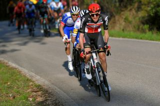 LAGOS PORTUGAL FEBRUARY 19 Tim Wellens of Belgium and Team Lotto Soudal Joo Almeida of Portugal and Team Deceuninck Quick Step Olivier Le Gac of France and Team Groupama FDJ during the 46th Volta ao Algarve 2020 Stage 1 a 1956km stage from Portimo to Lagos VAlgarve2020 on February 19 2020 in Lagos Portugal Photo by Tim de WaeleGetty Images