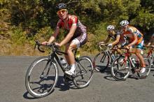 Tim Cameron (Suzuki-Trek) leads Anthony Giacoppo (Genesys) up the first climb up Razorback.