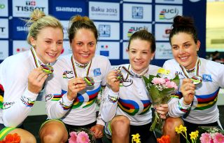 PARIS, FRANCE - FEBRUARY 19: Australia Gold in the Women's Team Pursuit Final during day two of the UCI Track Cycling World Championships at the National Velodrome on February 19, 2015 in Paris, France. (Photo by Alex Livesey/Getty Images)