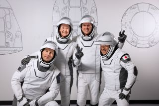The crew for SpaceX's upcoming Crew-2 mission. From left: European Space Agency astronaut Thomas Pesquet, NASA astronauts Megan McArthur and Shane Kimbrough and JAXA astronaut Akihiko Hoshide.