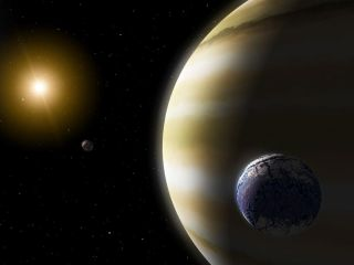 "An exomoon circles a gas-giant planet in this artist's impression. Exomoons may detach when their parent planets migrate inward, becoming ""ploonets"" that circle stars on their own."