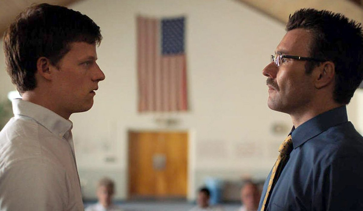 Boy Erased Lucas Hedges and Joel Edgerton face off in a church meeting