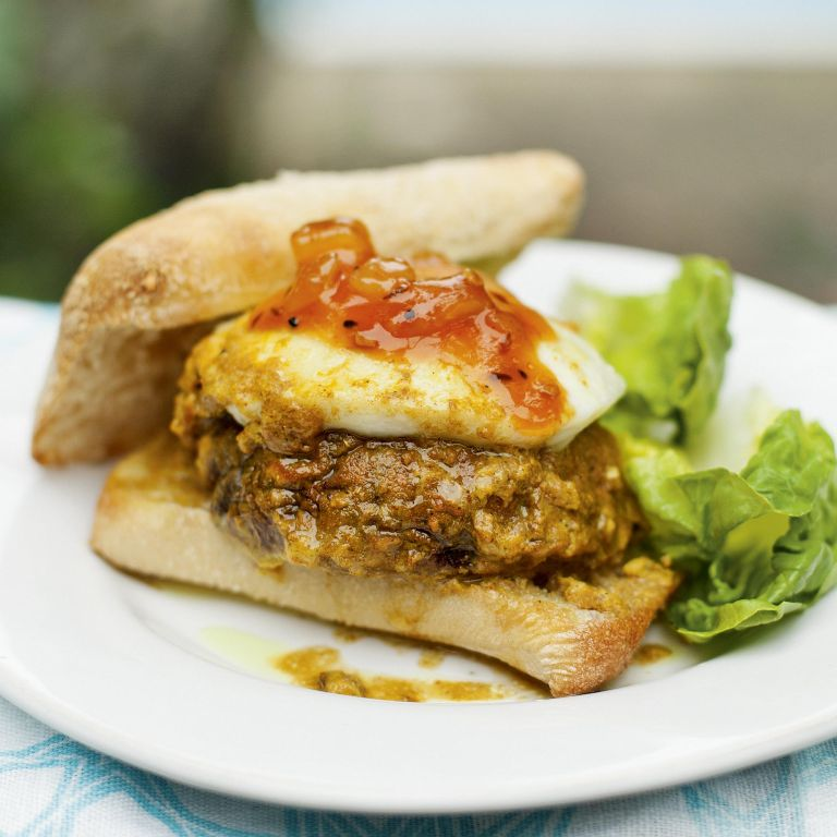 Spicy Mushroom And Halloumi Burger-woman and home