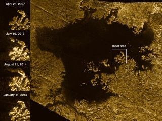"This Cassini radar image shows the Ligeia Mare sea on the Saturn moon Titan's north polar region. Various images of the region are shown in the square labeled ""inset area"" on the left. Taken during flybys by Cassini from April 2007 to January 2015, the im"