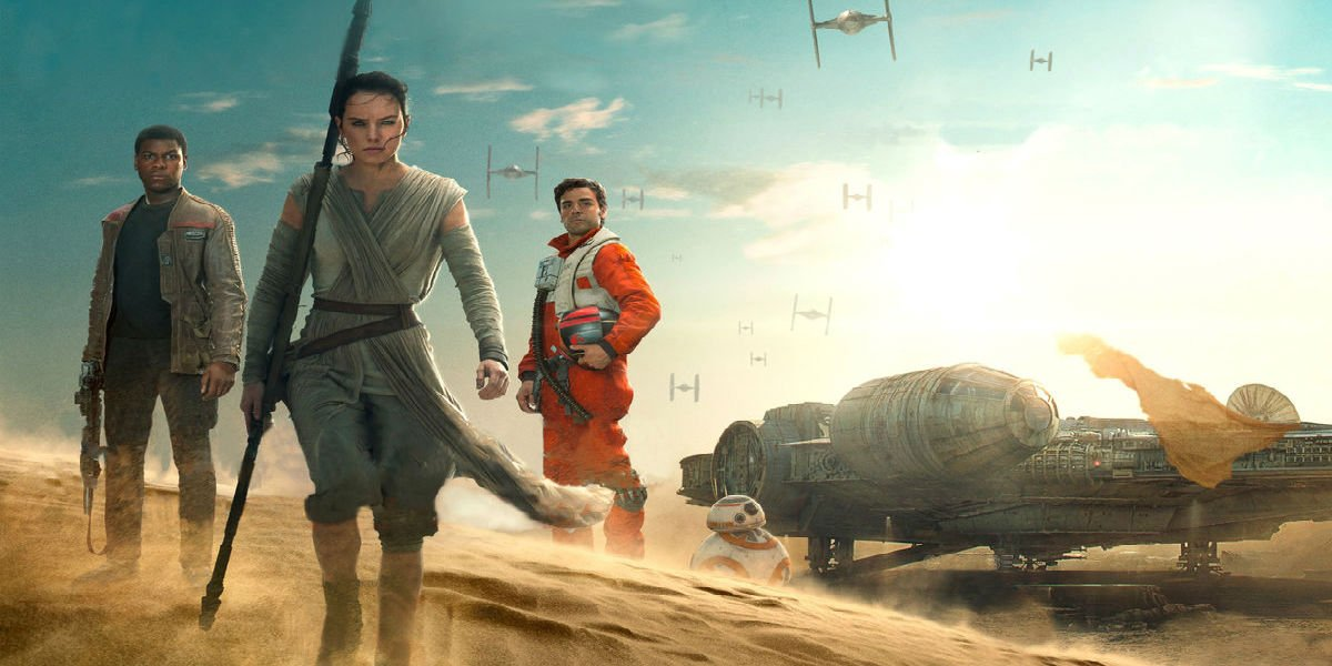 Finn, Rey, and Poe in Star Wars: The Force Awakens