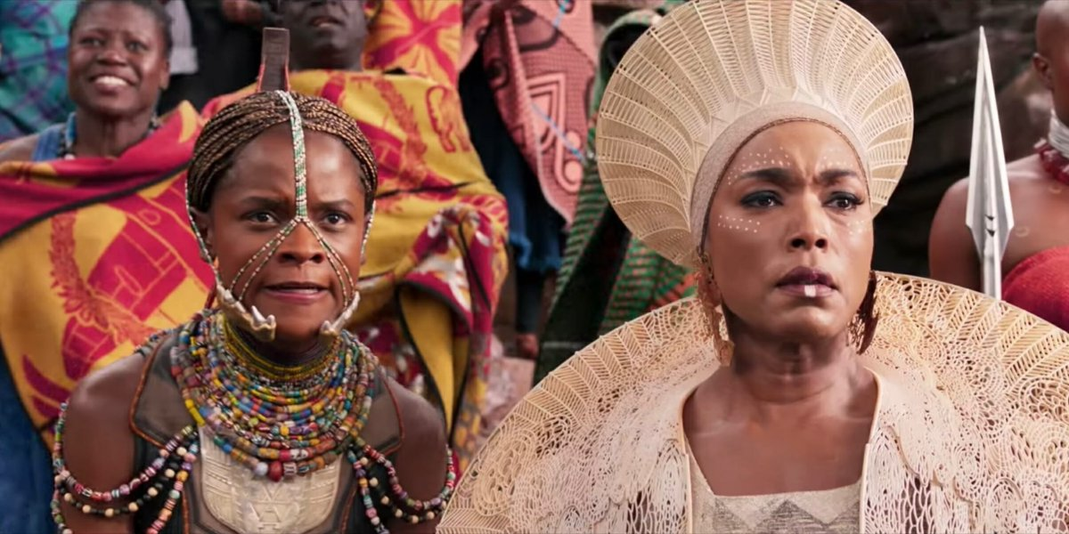 Letitia Wright and Angela Bassett in Black Panther