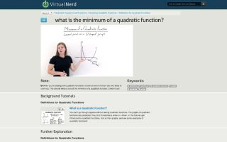 Screenshot Virtual Nerd: What is the minimum of a quadratic function?