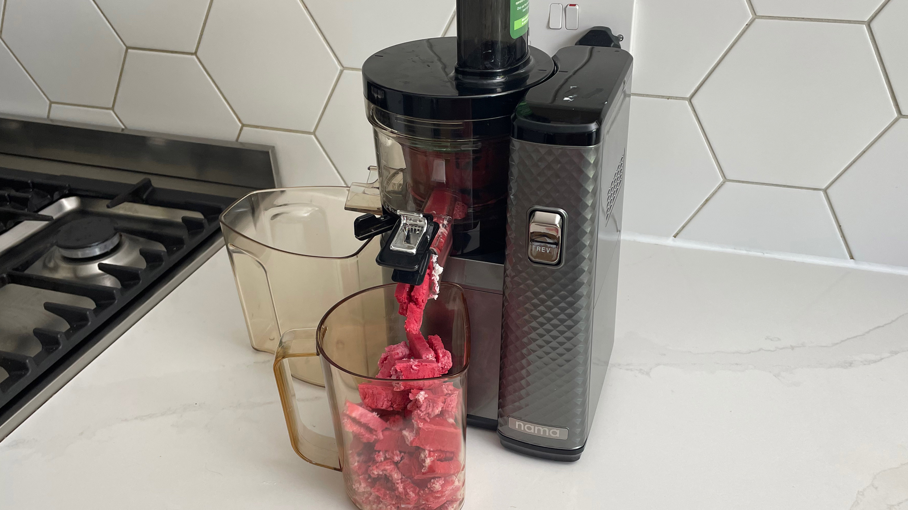 Nama Vitality 5800 on a kitchen countertop making raspberry and yoghurt sorbet