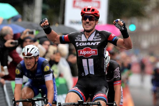 John Degenkolb took his frist single-day race victory of the season at the Munsterland Giro in Germany, showing that he's back on form after January's horror training crash where he nearly lost a finger.