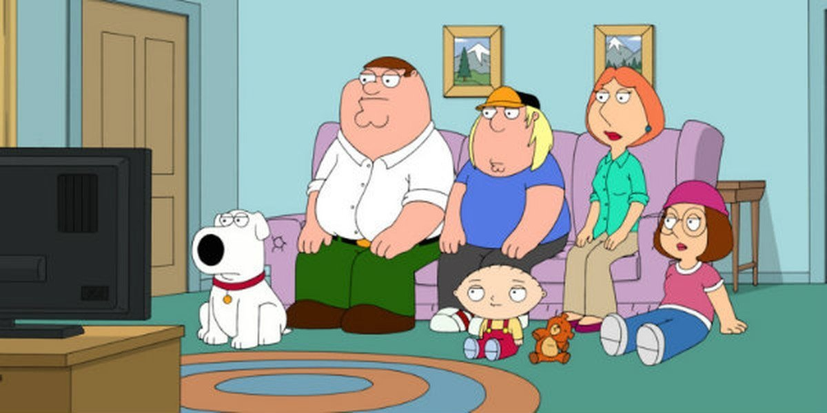 The main characters of Family Guy in their living room.