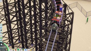 An image of people going down a rollercoaster from the game Parkitect.