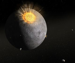 Illustration of an ancient asteroid impact on the moon