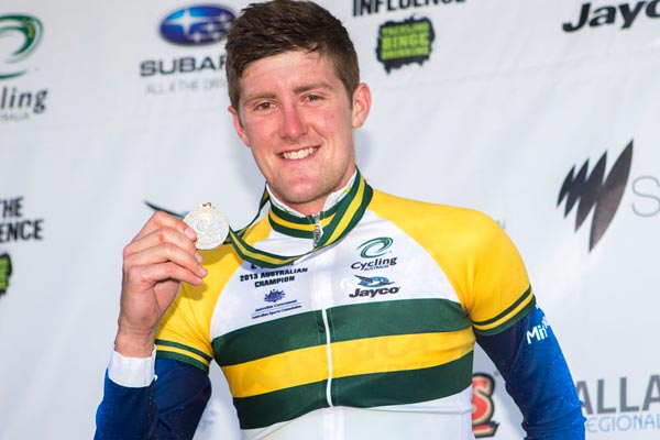 Luke Durbridge on podium, Australian time trial national champs 2013