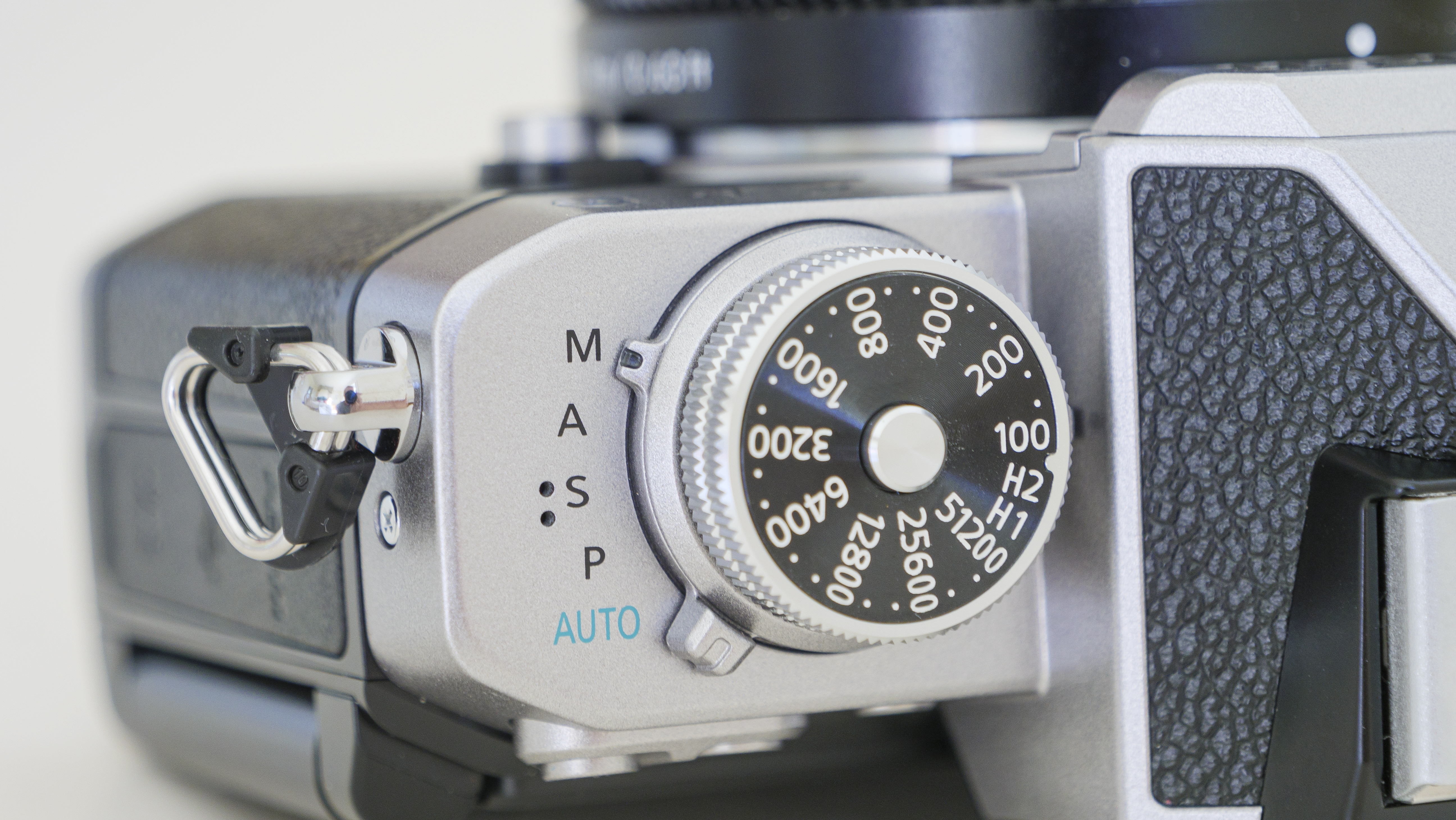 The ISO dial on the top of the Nikon Z fc camera