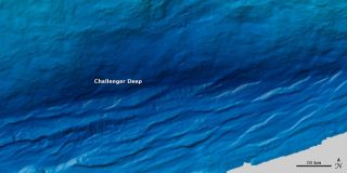 Challenger Deep in the Mariana Trench is the deepest spot on Earth. The spot was estimated in 2014 to plunge to 36,037 feet (10,984 m) beneath the Western Pacific Ocean.