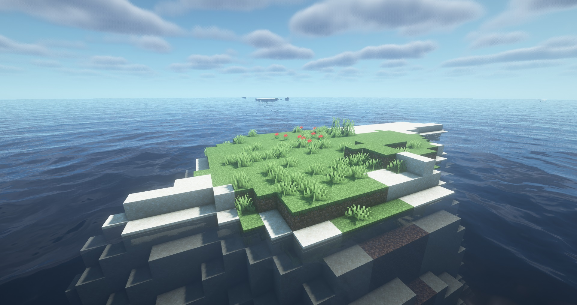 Minecraft seeds - Minimalist survival island - A very tiny island with only grass, dirt, and sand blocks, surrounded by ocean nearly as far as the eye can see.