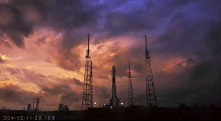 Thick clouds from bad weather make for beautiful, if frustrating, scene over SpaceX's launch site at the Cape Canaveral Air Force Station in Florida. The weather delayed SpaceX's planned launch of the U.S. Air Force's new GPS 3 SV01 navigation satellite o