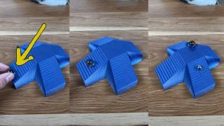 3 images of a blue 3D printed structure with a marble progressively travelling up a downward stair case.