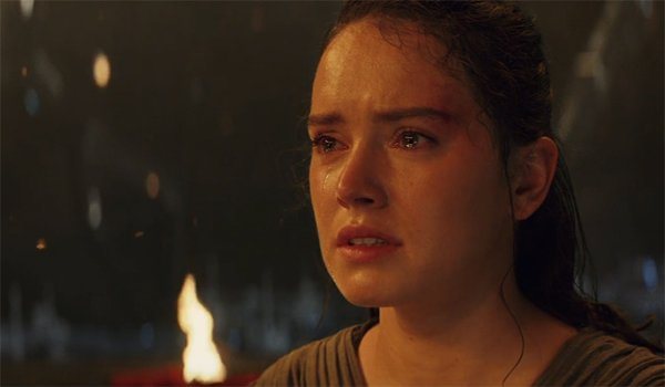 Rey crying that Kylo Ren won't come to the light