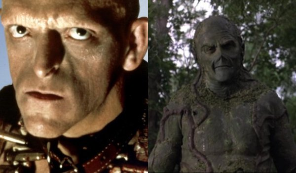 The Hills Have Eyes Michael Berryman with a menacing look Swamp Thing looking sympathetic in the swa