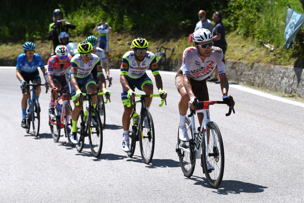 ALPE DI MERA VALSESIA ITALY MAY 28 Larry Warbasse of United States and AG2R Citren Team Andrea Pasqualon of Italy and Team Intermarch Wanty Gobert Matriaux Quinten Hermans of Belgium and Team Intermarch Wanty Gobert Matriaux Nicola Venchiarutti of Italy and Team Androni Giocattoli Sidermec Giovanni Aleotti of Italy and Team Bora Hansgrohe Mark Christian of United Kingdom and EOLOKOMETA Cycling Team in breakaway during the 104th Giro dItalia 2021 Stage 19 a 166km stage from Abbiategrasso to Alpe di Mera Valsesia 1531m Stage modified due to the tragic events on May the 23rd 2021 that involved the Mottarone Cableway UCIworldtour girodiitalia Giro on May 28 2021 in Alpe di Mera Valsesia Italy Photo by Tim de WaeleGetty Images