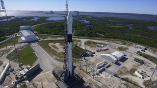 The SpaceX Falcon 9 rocket that launched the CRS-16 Dragon cargo mission for NASA stands awaiting launch on Space Launch Complex 40 at the Cape Canaveral Air Force Station in Florida.