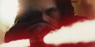 Kylo Ren wielding red lightsaber in Star Wars: The Last Jedi