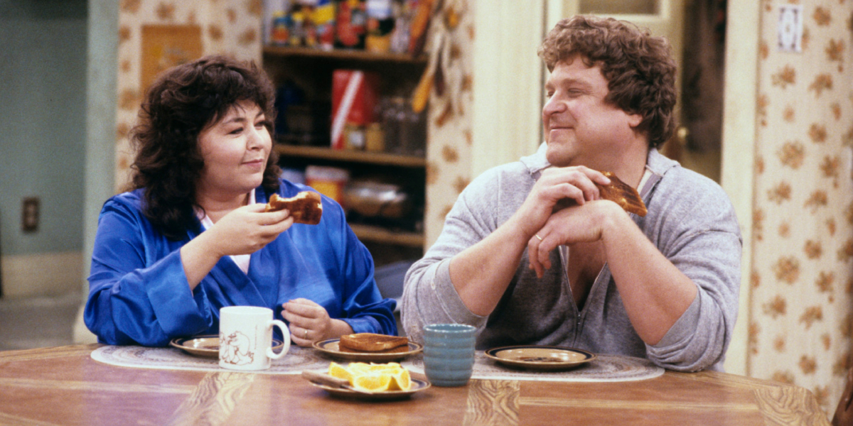 Roseanne Barr and John Goodman on Roseanne