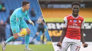 Burnley vs Arsenal live stream — Nick Pope of Burnley and Bukayo Saka of Arsenal