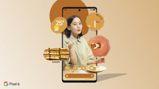 Screenshot from Japanese Google Pixel 6 ad featuring a woman and floating donuts.
