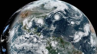 Five storms in the Atlantic and one in the Pacific can be seen in a satellite image from today (Sept. 15)
