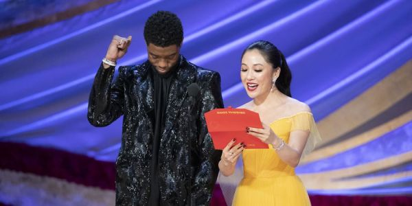 Chadwick Boseman and Constance Wu presenting at the 2019 Oscars