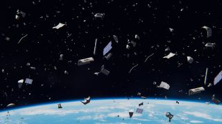 An illustration of space junk