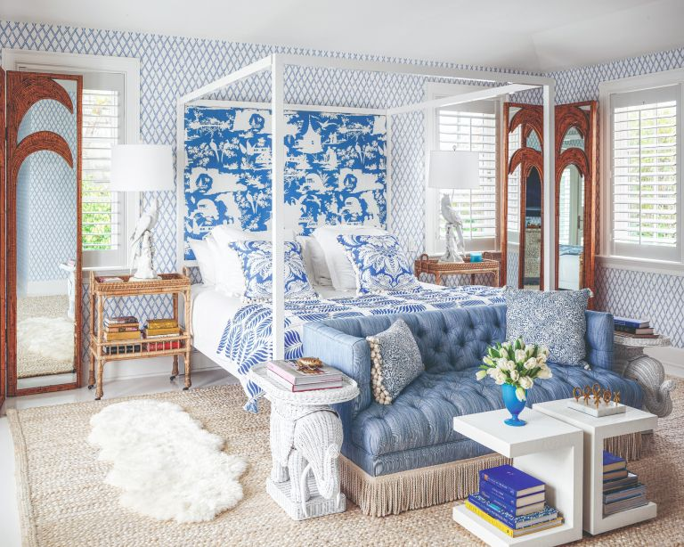 blue and white bedroom in Palm Beach, Florida
