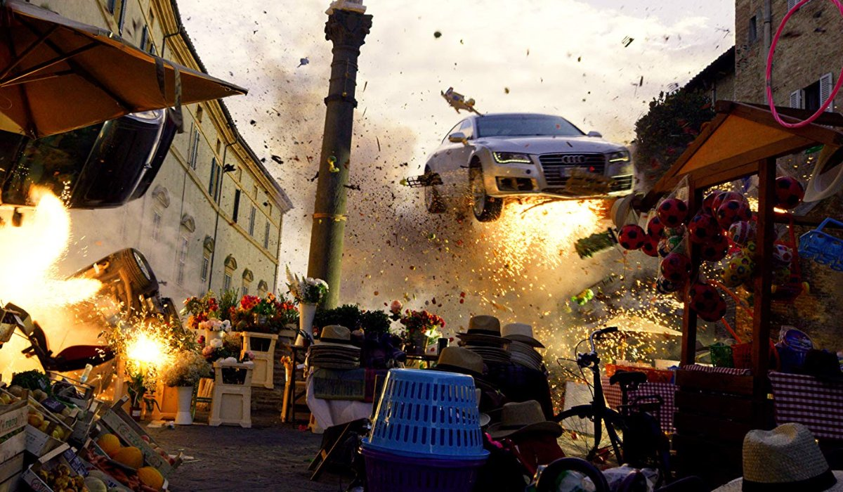 6 Underground a gigantic explosion with a car riding above it all