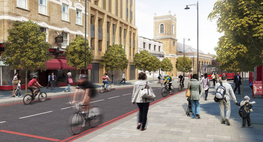 An artist's impression of how Wandsworth High Street (east) could look