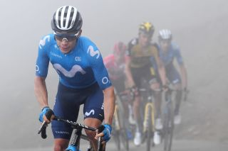 Miguel Ángel López Moreno attacks in the breakaway during stage 18 of Tour of Spain 2021