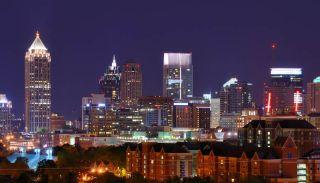 The skyline of Atlanta, Georgia, at night.