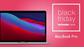 """MacBook Pro on a pink background, with a badge that says """"Black Friday techradar"""" with """"MacBook Pro"""" written beneath it."""