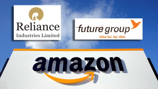 Logos of Reliance Group, Future Group and Amazon