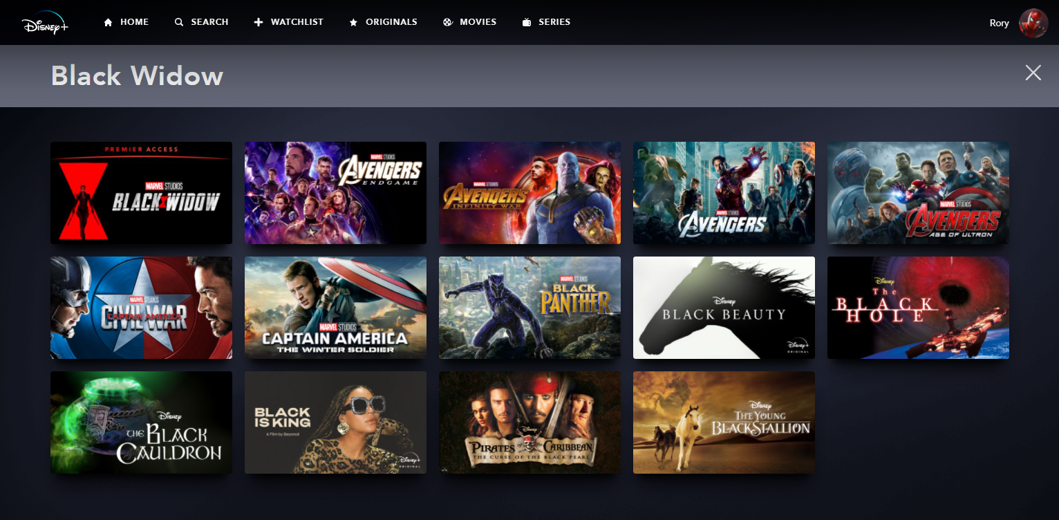 pre-order black widow on Disney Plus Premier Access - search for the film