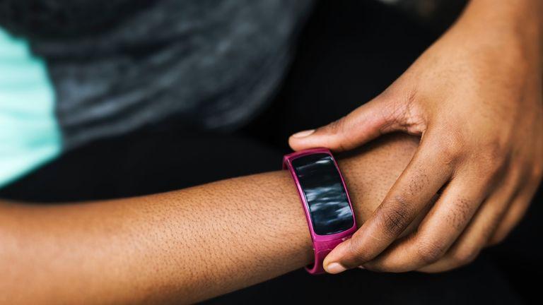 Activity tracker: fitness tracker on woman's arm