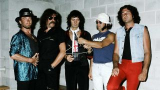 Deep Purple backstage on the Perfect Strangers Tour in Australia