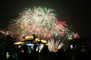 Fireworks on Sept. 19, 2021, mark the Mid-Autumn Festival, also known as the Moon Festival, in Wuxi, China.