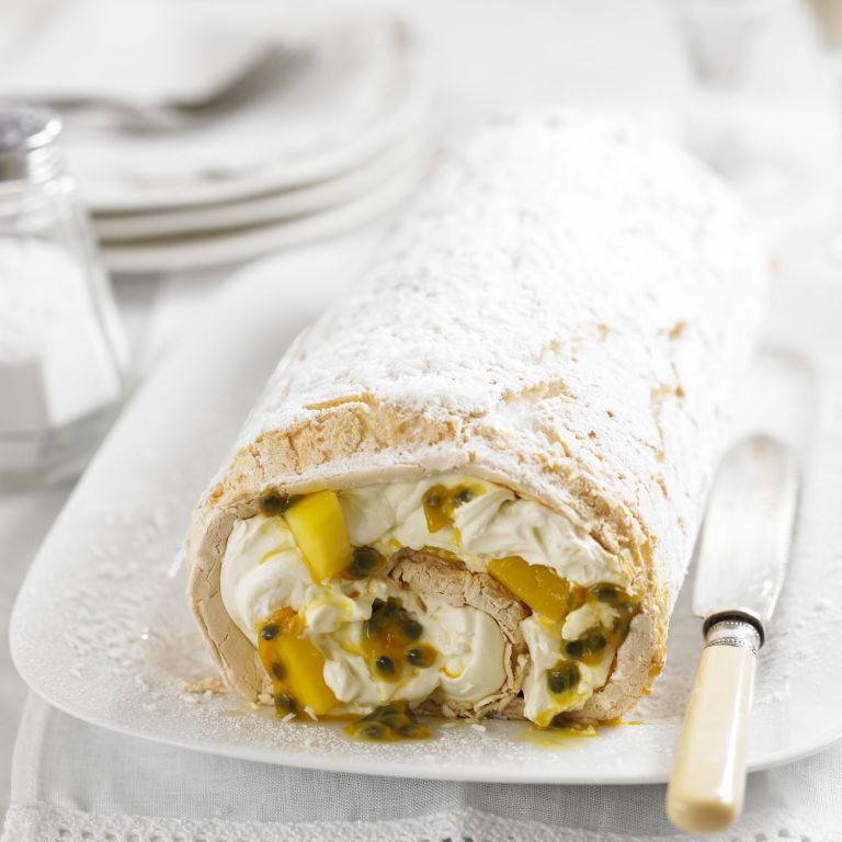 Passionfruit & mango meringue roulade recipe-recipes-recipe ideas-new recipes-woman and home