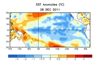 sea surface temperature associated with la nina in december 2012