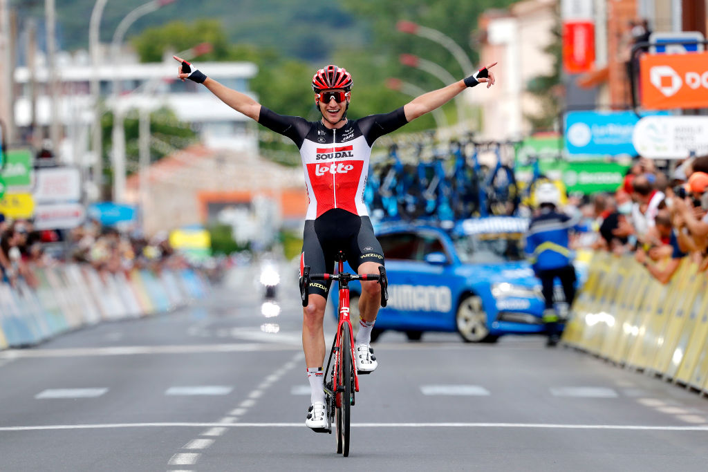 ISSOIRE FRANCE MAY 30 Brent Van Moer of Belgium and Team Lotto Soudal stage winner celebrates at arrival during the 73rd Critrium du Dauphin 2021 Stage 1 a 1818km stage from Issoire to Issoire UCIworldtour Dauphin on May 30 2021 in Issoire France Photo by Bas CzerwinskiGetty Images
