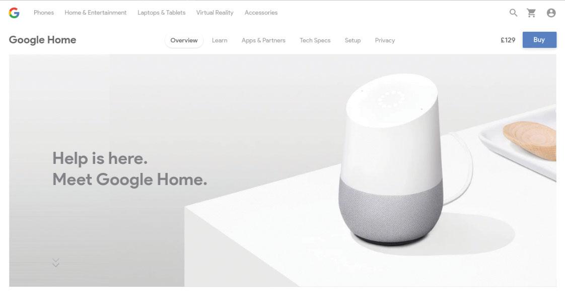 Google Home homepage