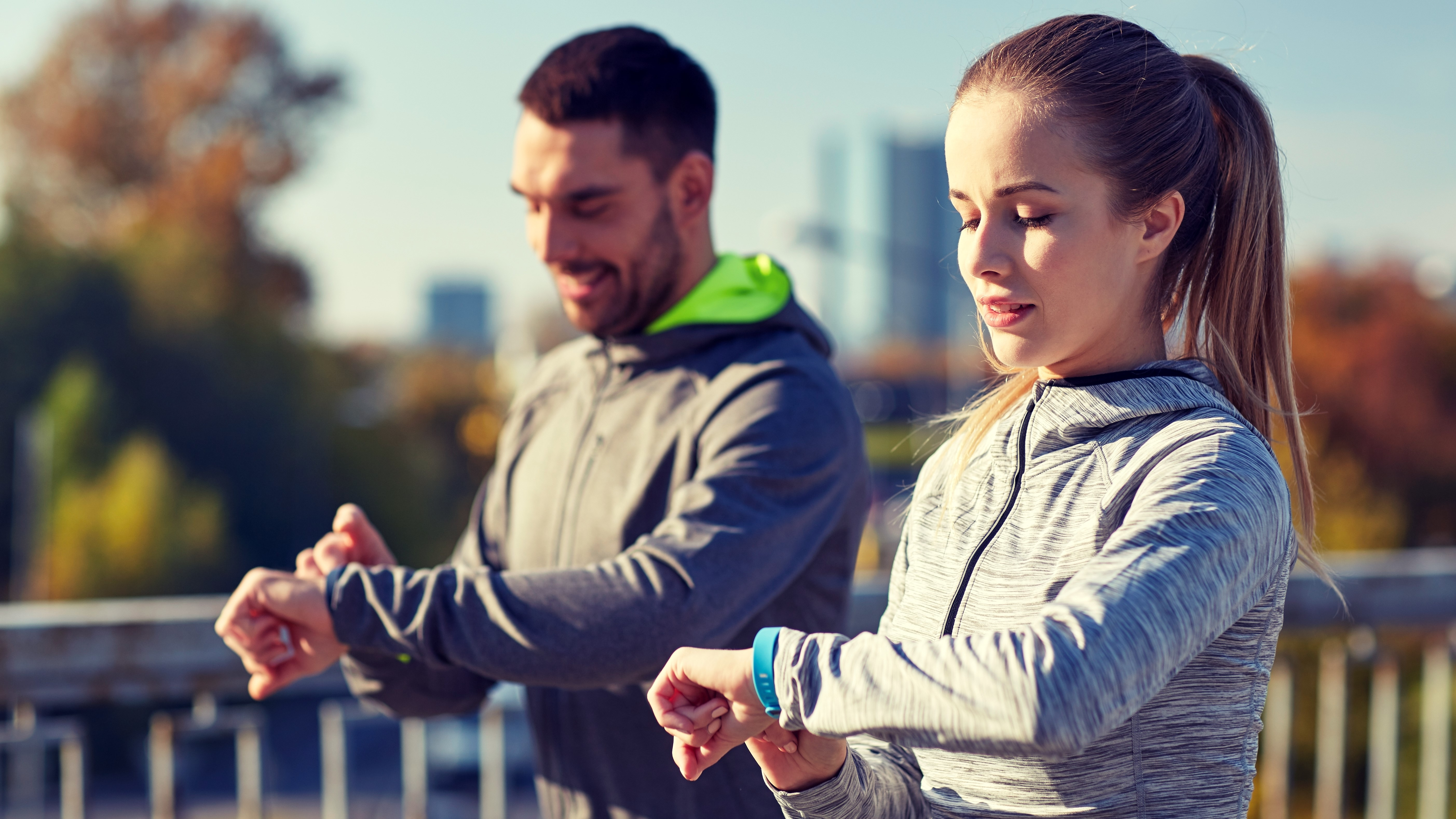People using fitness trackers